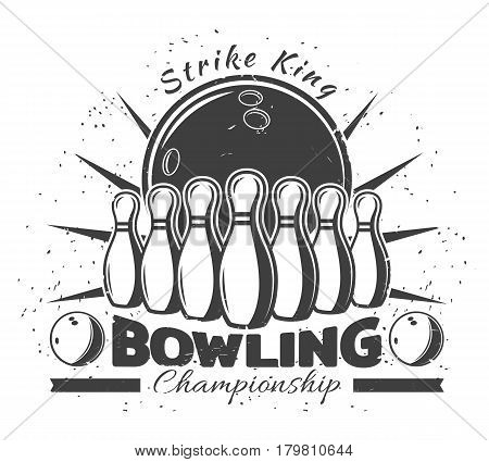Vintage bowling club template with inscription balls and pins in monochrome style vector illustration