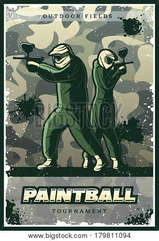 Vintage colorful paintball club poster with players wearing ammunition and holding weapons on military camouflage background vector illustration