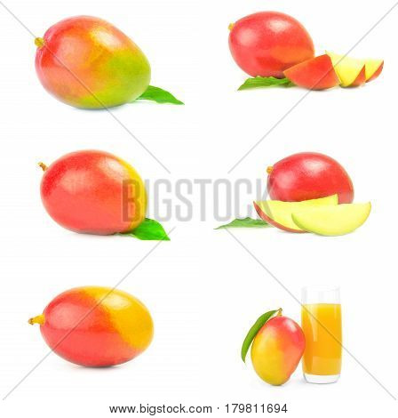 Collage of red mango on a white background