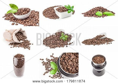 Set of roasted coffee beans on white