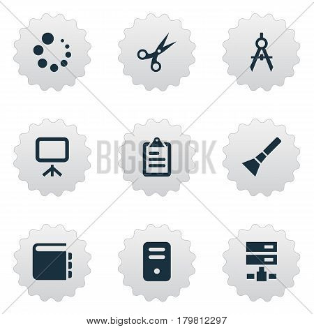 Vector Illustration Set Of Simple Web Icons. Elements List, Cut, Schedule And Other Synonyms Tool, Board And Inventory.