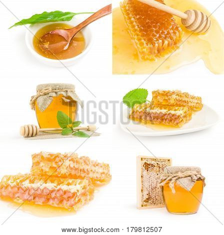 Set of Sweet honey isolated on a white background cutout