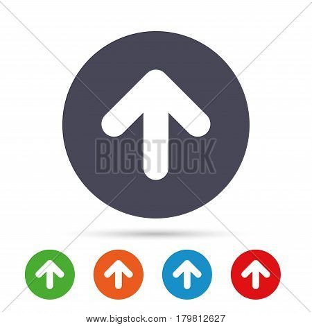 Upload sign icon. Upload button. Load symbol. Round colourful buttons with flat icons. Vector