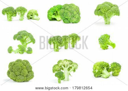 Set of fresh raw broccoli on a white background clipping path