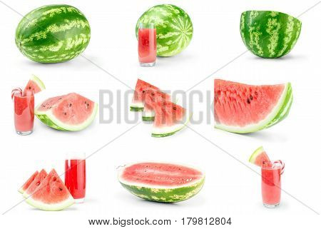 Group of Ripe watermelon on a isolated white background
