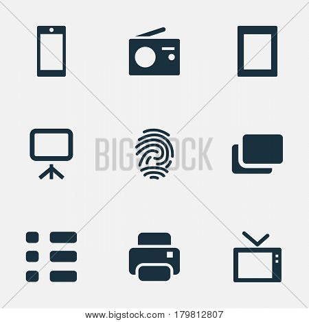 Vector Illustration Set Of Simple Digital Icons. Elements Tuner, Photocopier, Layout And Other Synonyms Computer, Fingerprint And Tablet.
