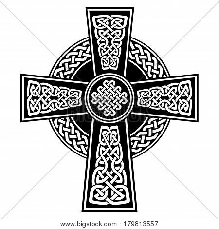 Celtic style Cross with  endless knots patterns in white and black with stroke elements inspired by Irish St Patrick's Day, and Irish and Scottish carving art