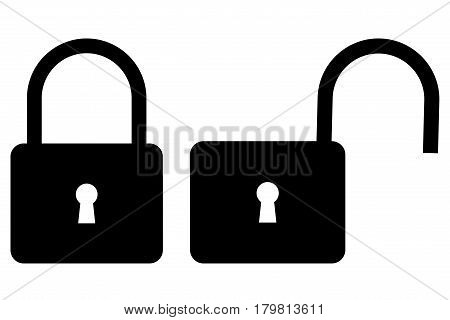 Locked and unlocked padlock icon , padlock icon