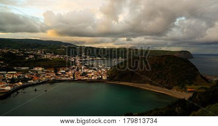 Sunset view to Horta Porto Pim Bay and beach from mount Guia on Faial island Azores Portugal