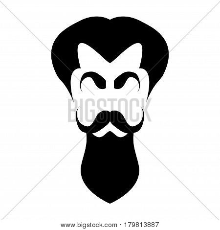 Illustration hair, eyebrows, mustache and beard on a white background.