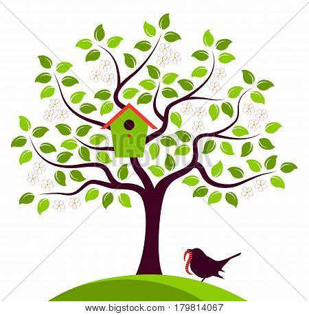 vector flowering tree with nesting bird box and bird bringing worm isolated on white background