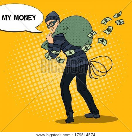 Criminal Bandit with Money Bag. Pop Art retro vector illustration