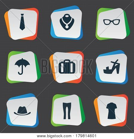 Vector Illustration Set Of Simple Clothes Icons. Elements Glasses, Cotton Fabric, Brolly And Other Synonyms Male, Tie And Cap.