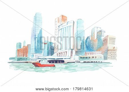 City skyline on the river watercolor illustration