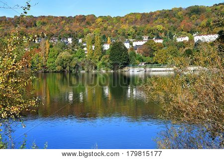Meulan France - october 31 2016 : the picturesque city in autumn
