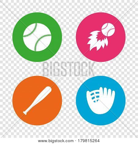 Baseball sport icons. Ball with glove and bat signs. Fireball symbol. Round buttons on transparent background. Vector