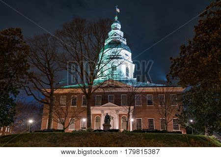 Night at the Maryland State Capitol Building in Annapolis Maryland
