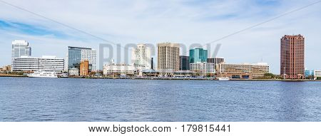 Norfolk Virginia city skyline across the Elizabeth River