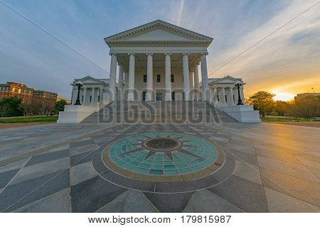 Virginia state capitol building in Richmond at sunrise
