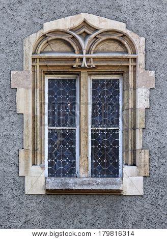 Budapest Hungary Buda castle district gothic windows.