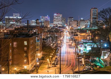 RICHMOND VA - MARCH 24: View of the Richmond Virginia skyline from Libby Hill Park looking down Main St on March 24 2017