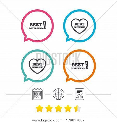Best boyfriend and girlfriend icons. Heart love signs. Awards with exclamation symbol. Calendar, internet globe and report linear icons. Star vote ranking. Vector