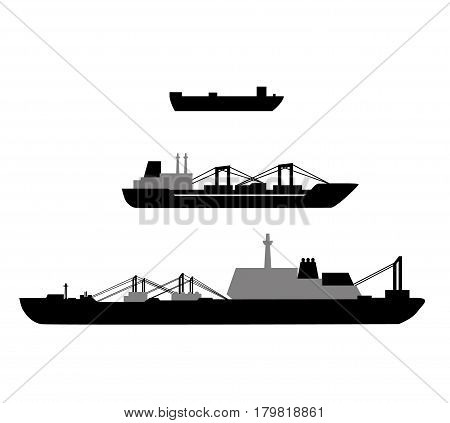 Set of cargo ships. The objects for your design. Reefer containers, equipment frozen products. And tankers with tanks. Simple style. It can be used as icons. Vector illustration.