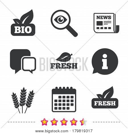 Natural fresh Bio food icons. Gluten free agricultural sign symbol. Newspaper, information and calendar icons. Investigate magnifier, chat symbol. Vector