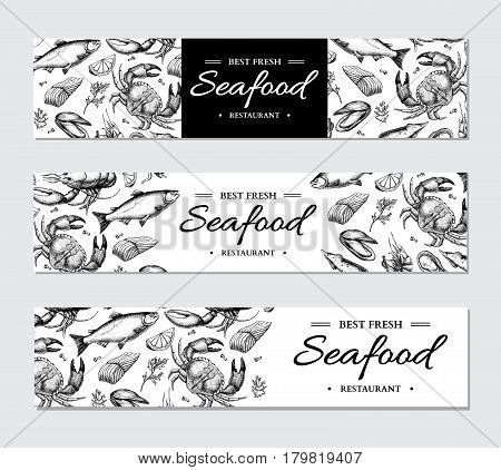 Seafood banner vector template set. Hand drawn illustration. Crab, lobster, shrimp, oyster, mussel, caviar and squid. Engraved style Fish and sea food restaurant menu, card, business promote.