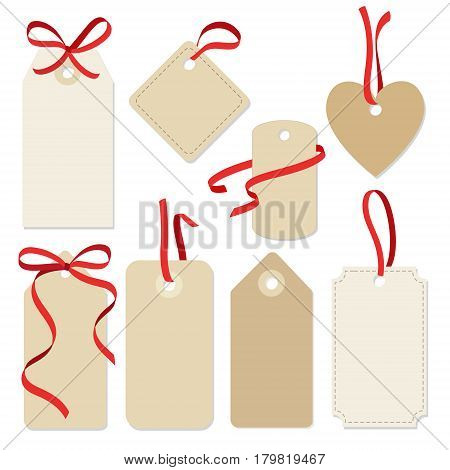 Set of blank vintage frames, gift or sale tags and labels with red ribbons, isolated vector collection.