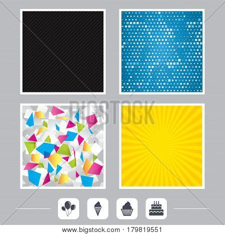 Carbon fiber texture. Yellow flare and abstract backgrounds. Birthday party icons. Cake with ice cream signs. Air balloons with rope symbol. Flat design web icons. Vector
