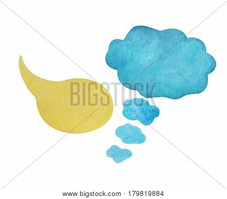 Watercolor speech bubble on white background. Yellow text bubble cloud hand-drawn element. Isolated cloud clipart. Blue thought bubble. Conversation or dialogue illustration. Hand-painted comic design
