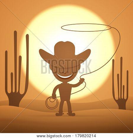 Cowboy kid twirling a lasso vector illustration