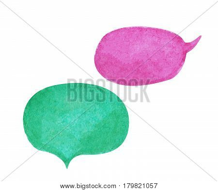 Watercolor on white background. Violet and teal green text bubble cloud hand-drawn element. Isolated bubble clipart. Conversation or dialogue illustration. Hand-painted comic text cloud