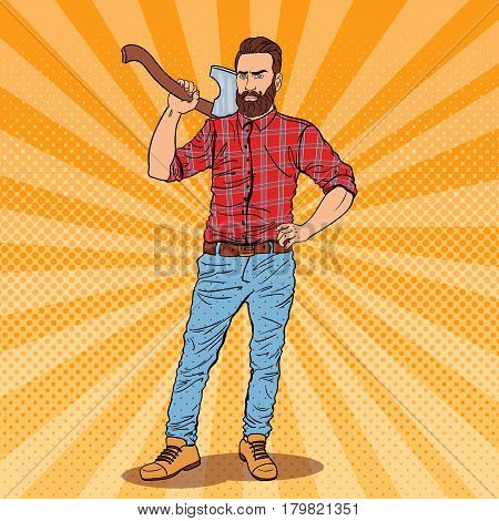 Lumberjack with Beard and Axe. Woodcutter Worker. Pop Art vintage vector illustration