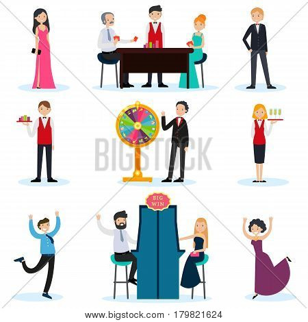 People in casino set with workers and visitors playing cards slot machine turning fortune wheel isolated vector illustration