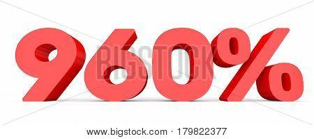 Nine Hundred And Sixty Percent. 960 %. 3D Illustration.