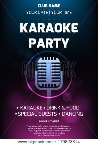 Karaoke party invitation flyer template. Dark background with abstract light and glare. Retro microphone silhouette in center. A4 size.
