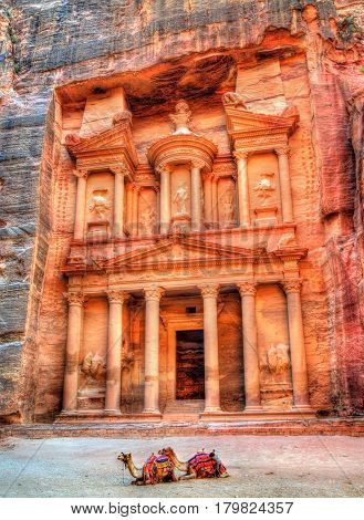 Al Khazneh temple in Petra - Jordan. UNESCO world heritage site