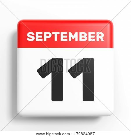 September 11. Calendar On White Background.