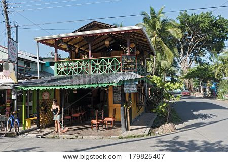 PUERTO VIEJO, COSTA RICA-MARCH 19, 2017: Caribbean wooden house in Puerto Viejo, Costa Rica