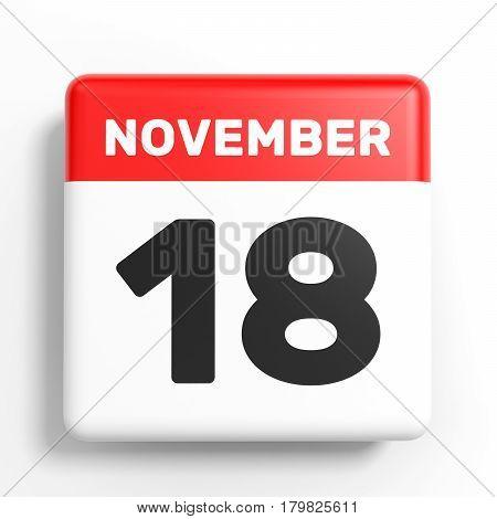November 18. Calendar On White Background.