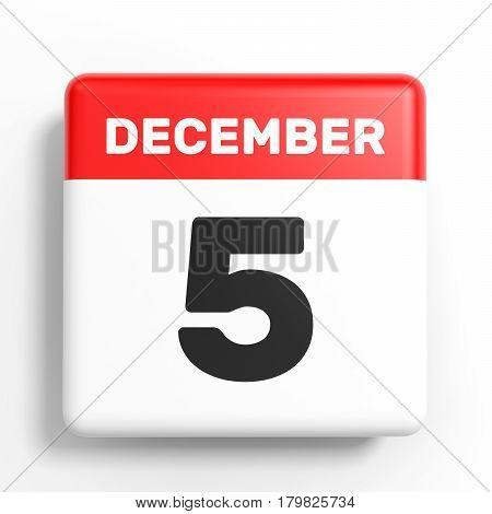 December 5. Calendar On White Background.