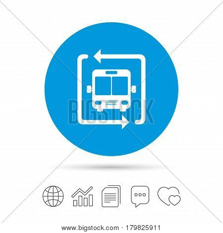 Bus shuttle icon. Public transport stop symbol. Copy files, chat speech bubble and chart web icons. Vector