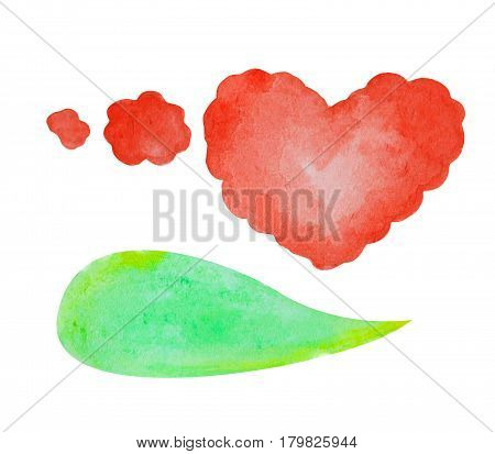 Watercolor speech bubble on white background. Green text bubble cloud hand-drawn element. Red heart thought bubble. Conversation or dialogue illustration in comics style