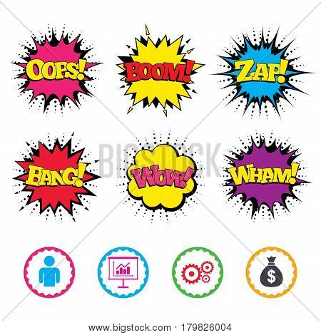 Comic Wow, Oops, Boom and Wham sound effects. Business icons. Human silhouette and presentation board with charts signs. Dollar money bag and gear symbols. Zap speech bubbles in pop art. Vector