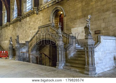 LONDON, GREAT BRITAIN - MAY 17, 2014: This is fragment of the Great Hall of the Palace of Westminster