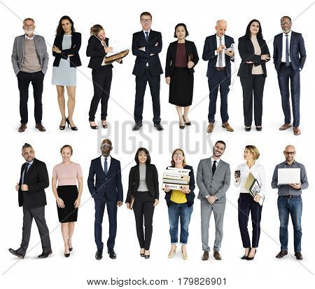 Diversity Business People Set Gesture Standing Together Studio Isolated