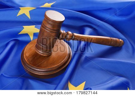 Judge gavel on European Union flag