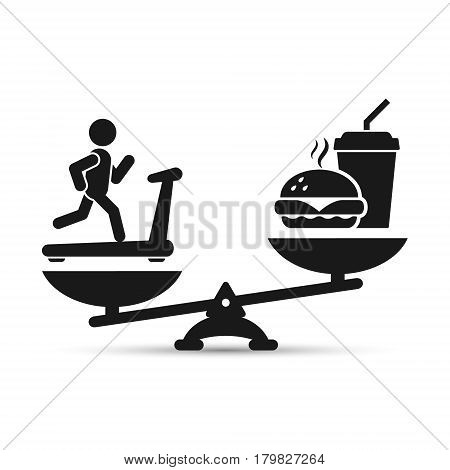 Man treadmill vs fast food on scales vector loss weight concept illustration.